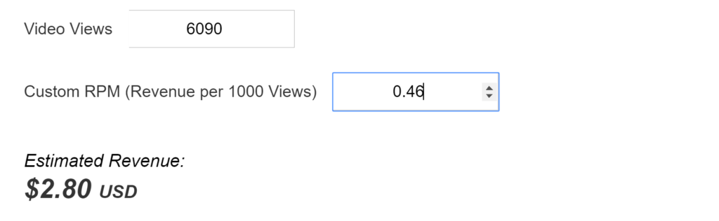 Increase YouTube RPM web Calculation