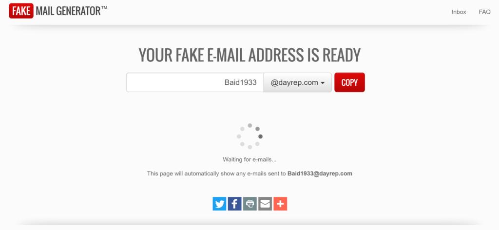 Fake Email Address Generator