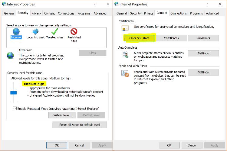 SSL Error - Clear SSL State