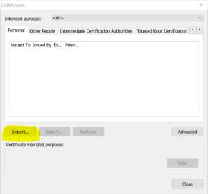 SSL Error - Import SSL